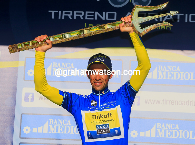 Alberto Contador on the podium after winning Stage 7 of the 2014 Tirreno Adriatico