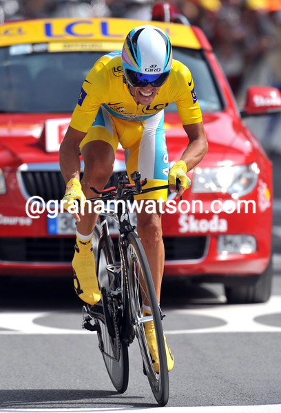 ALBERTO CONTADOR  ON STAGE NINETEEN OF THE 2010 TOUR DE FRANCE