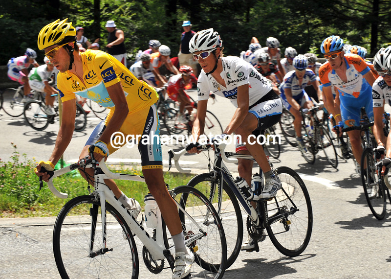 ALBERTO CONTADOR LEADS ANDY SCHLECK ON STAGE SEVENTEEN OF THE 2009 TOUR DE FRANCE