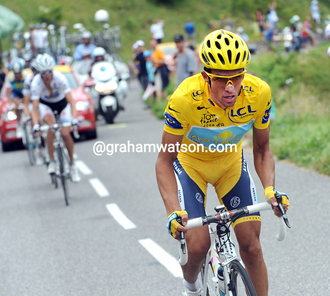 Alberto Contador attacks on stage seventeen - dropping teamate Kloden and seriously annoying his Astana teamates...but he won the Tour because he had the courage to atack!
