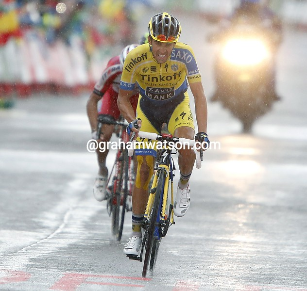 Alberto Contador finishes stage nine of the 2014 Tour of Spain