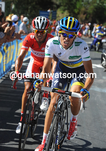 Alberto Contador and Joachim Rodriguez on stage twelve of the 2012 Vuelta EspaÒa