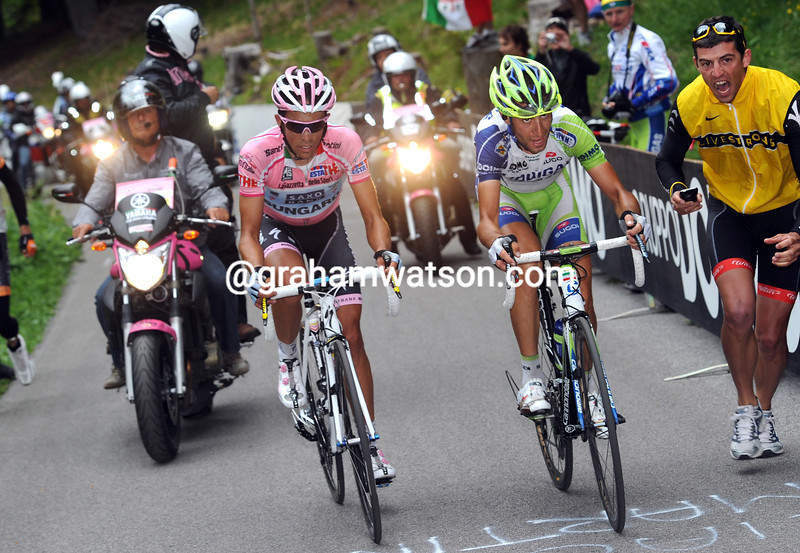 ALBERTO CONTADOR AND VINCENZO NIBALI ON STAGE FOURTEEN OF THE 2011 GIRO D'ITALIA