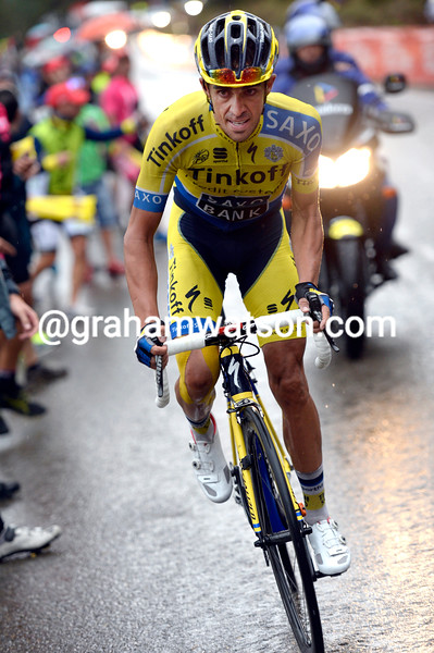 Alberto Contador attacks on stage nine of the 2014 Tour of Spain