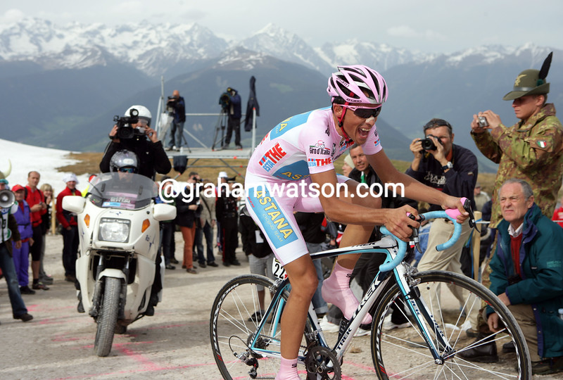 Alberto Contador on Stage 16 of the 2008 Giro d'Italia