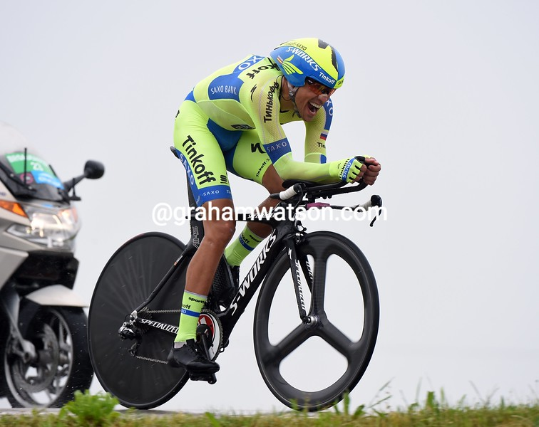 Alberto Contador on stage fourteen of the 2015 Tour of Italy