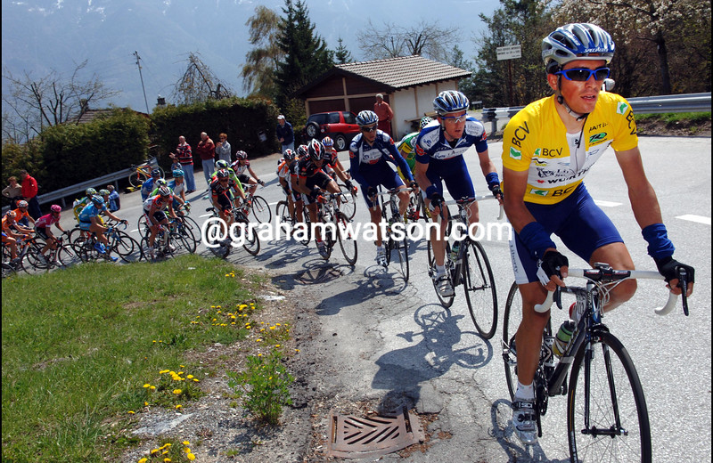 ALBERTO CONTADOR LEADS THE PELOTON AS IT CLIMBS TO OVRONNAZ ON STAGE FOUR OF THE TOUR DE ROMANDIE