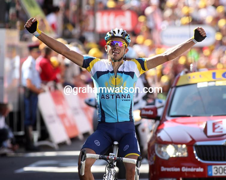 ALBERTO CONTADOR WINS STAGE FIFTEEN OF THE 2009 TOUR DE FRANCE