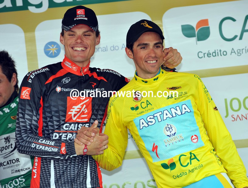 Alberto Contador celebrates his overall win in the 2010 Algarve Tour with stage-winner Luis Leon Sanchez...