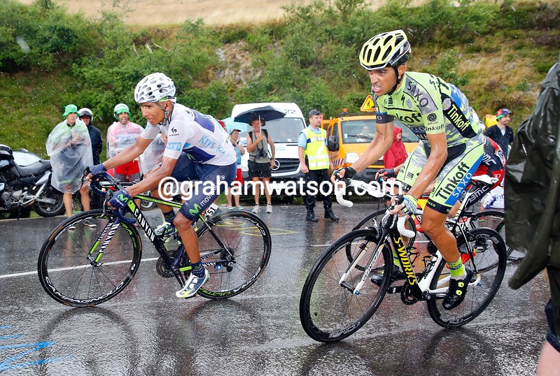 Alberto Contador and Quintana on stage twelve of the 2015 Tour de France