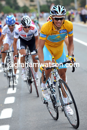 ALBERTO CONTADOR ATTACKS ON STAGE NINETEEN OF THE 2008 TOUR OF SPAIN