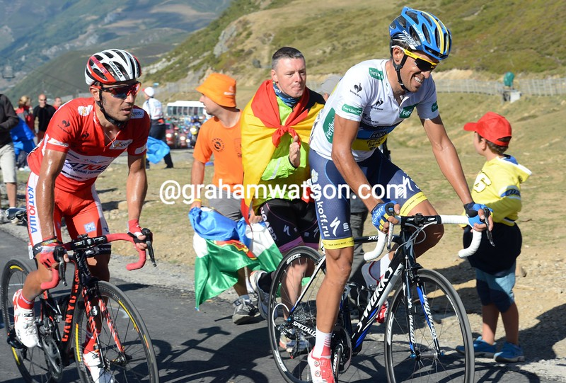 Alberto Contador and Joachim Rodriguez on stage sixteen of the 2012 Vuelta EspaÒa