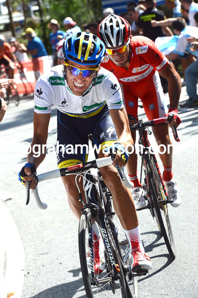 Alberto Contador and Joachim Rodriguez on stage twelve of the 2012 Vuelta EspaÒa