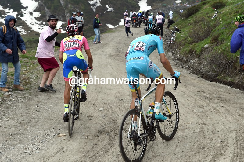 Alberto Contador and Tanel Kangert on stage twenty of the 2015 Tour of Italy