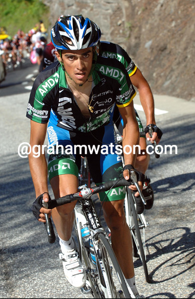 ALBERTO CONTADOR MAKES AN ATTACK ON STAGE EIGHT OF THE 2007 TOUR DE FRANCE