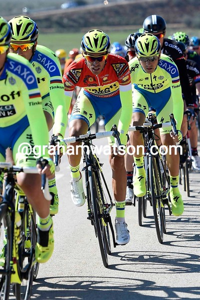 Alberto Contador in the Leaders Jersey on Stage 2 of the 2015 Tour of Andalucia Ruta Del Sol