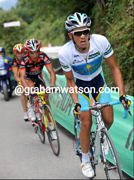 ALBERTO CONTADOR CLIMBS THE ANGLIRU ON STAGE THIRTEEN OF THE 2008 TOUR OF SPAIN