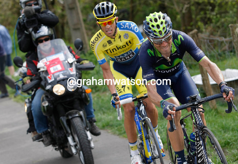 Alejandro Valverde and Alberto Contador on stage one of the 2014 Tour of the Basque Country