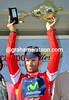Alejandro Valverde on the podium after winning the opening prologue of the 2014 Ruta del Sol