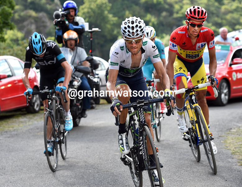Alejandro Valverde attacks Chris Froome and Alberto Contador on stage nineeen of the 2014 Tour of Spain
