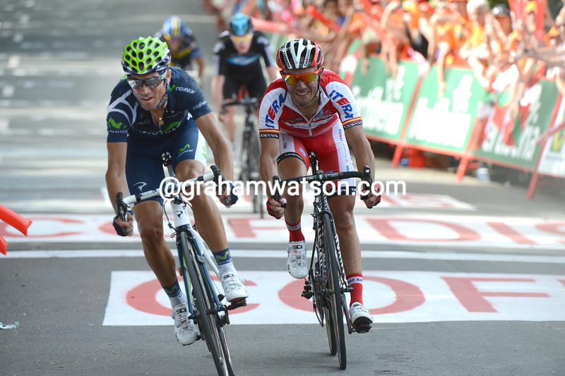 Alejandro Valverde beats Joaquin Rodriguez on stage 3 of the 2012 Vuelta a España