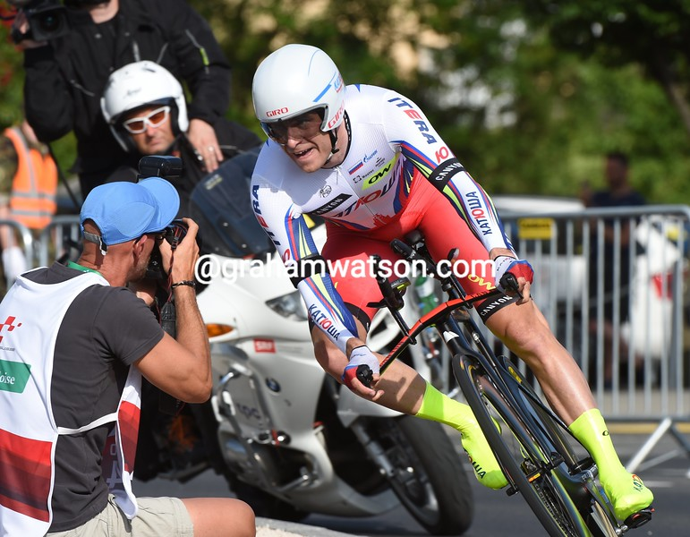 Alexander Kristoff in action during the Prologue of the 2015 Tour de Suisse
