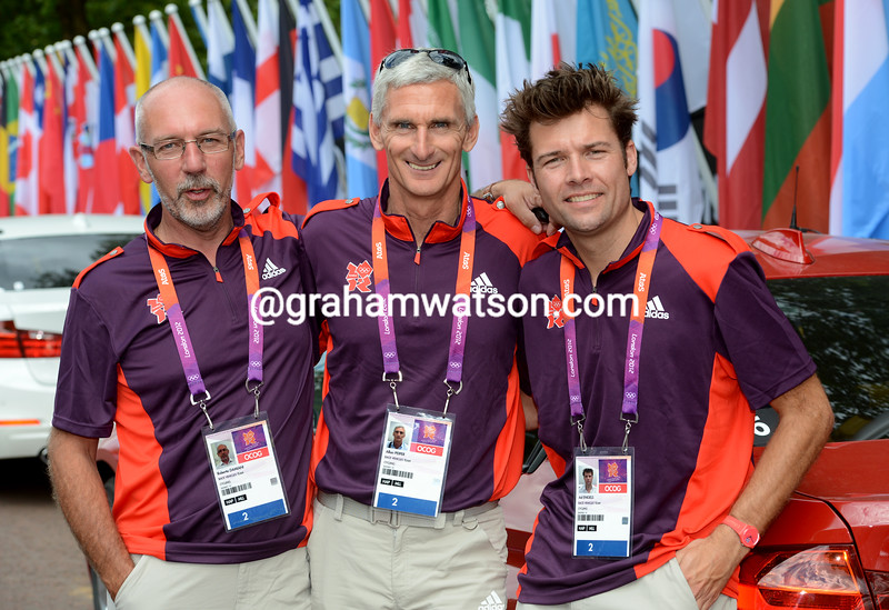 Allan Peiper with Eddy Angels (right) and Roberto Damiani at the 2012 Olympic Games