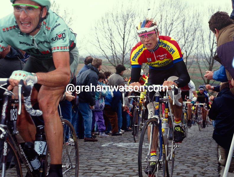Allan Peiper and Maurizio Fondriest in the 1993 Tour of Flanders