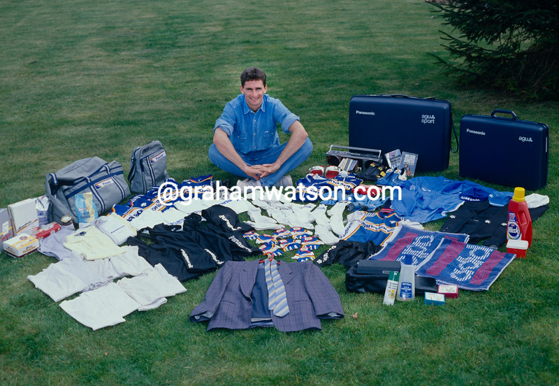 Allan Peiper prepares his luggage and clothing for the 1990 Tour de France