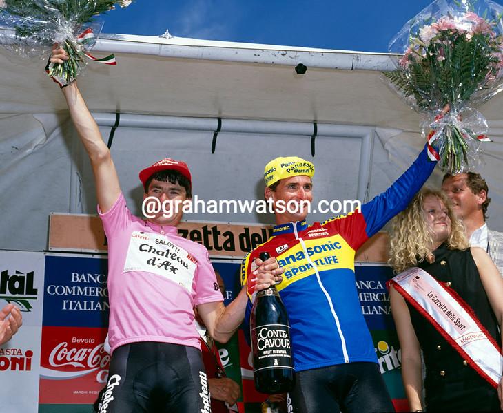 Gianni Bugno and Allan Peiper in the 1990 Giro d'Italia