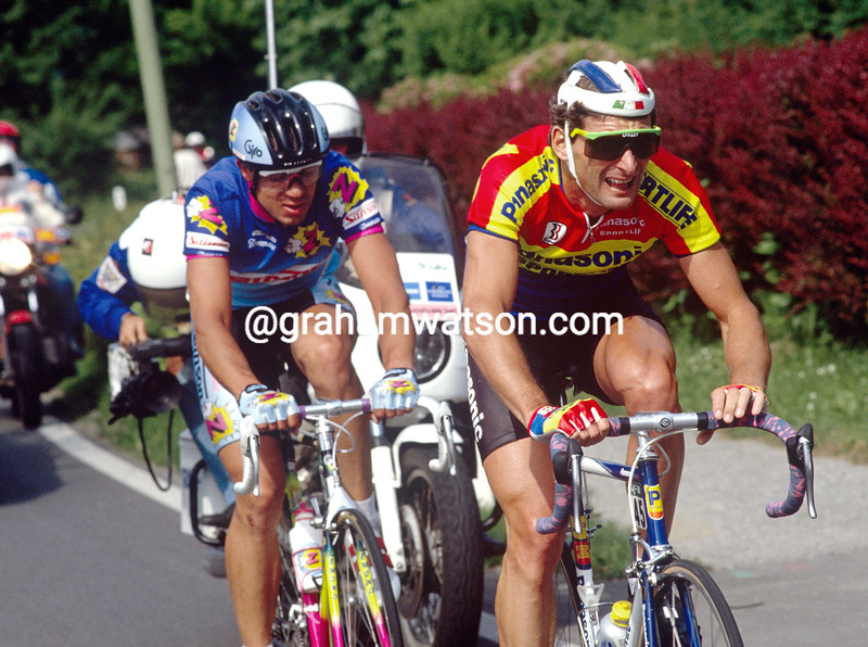 Allan Peiper and Pascal Poisson in the 1990 Giro d'Italia