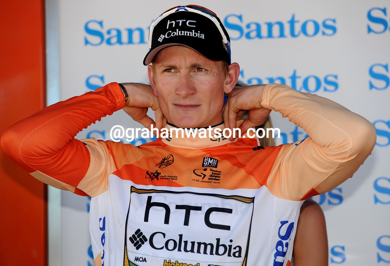 Just as in 2009, Andre Greipel pulls on the first race-leader's jersey of the race...