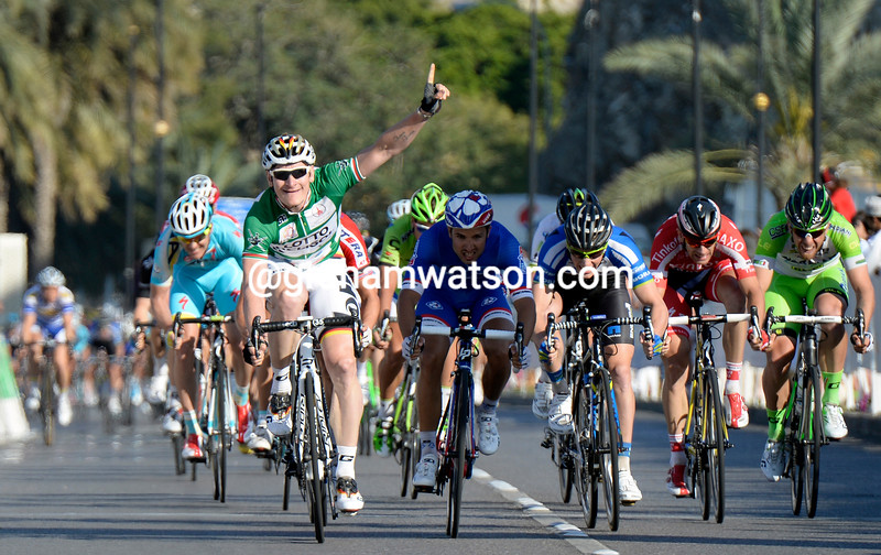 Andre Greipel wins stage six of the 2014 Tour of Oman from Nacer Bouhanni and Sam Bennett