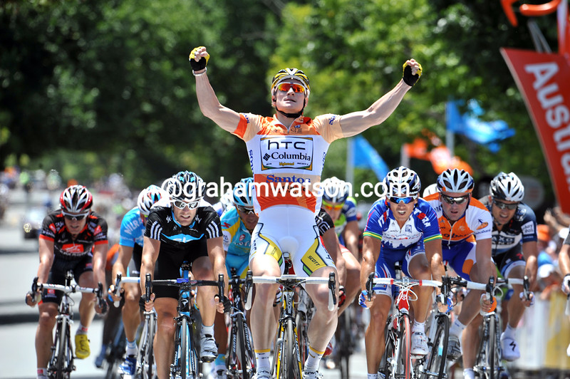 Andre Greipel is the winner of stage two into Hahndorf - and it's getting easier for him..!