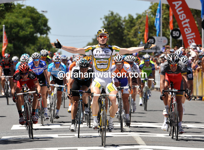 Andre Greipel is an easy winner of stage one of the 2010 Tour Down Under, beating Steegmans (right) and Jurgen Roelandts (hidden)