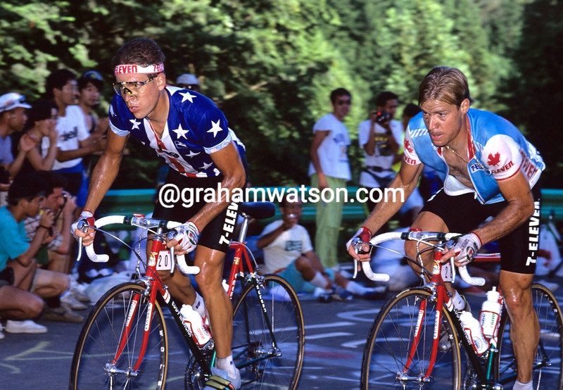Andy hampsten and Steve Bauer in the 1990 World Championships