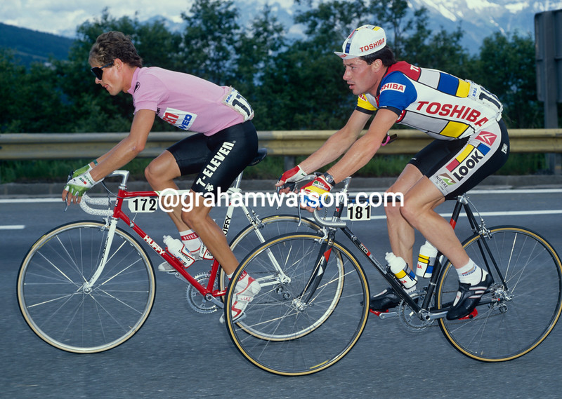 Andy Hampsten and Jean-Francois Bernard in the 1988 Giro d'Italia