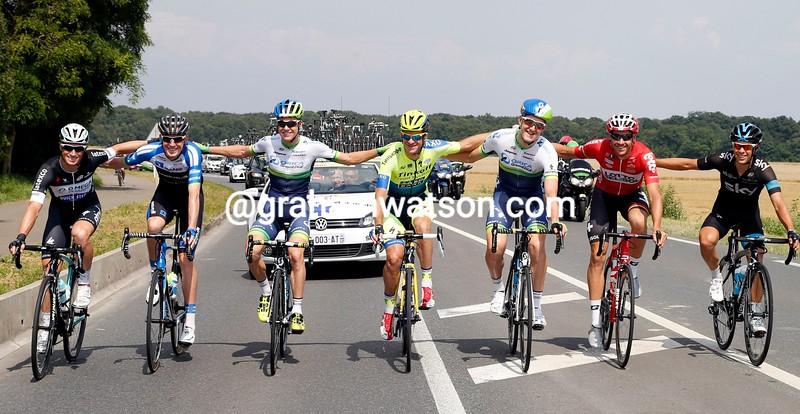The Australian finishers of the 2014 Tour de France - Renshaw, Dempster, Clarke, Rogers, Durbridge, Hansen and Porte