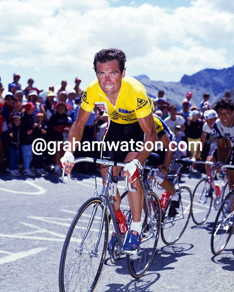 BERNARD HINAULT CLIMBS THE COL DU GALIBIER IN THE 1986 TOUR DE FRANCE