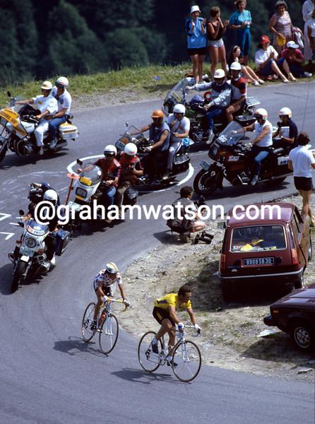 Bernard Hinault and Luis Herrera in the 1985 Tour de France