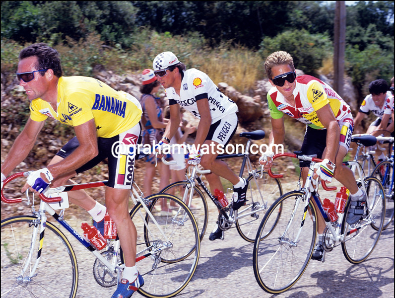 Bernard Hinault and Greg LeMond in the 1986 Tour de France