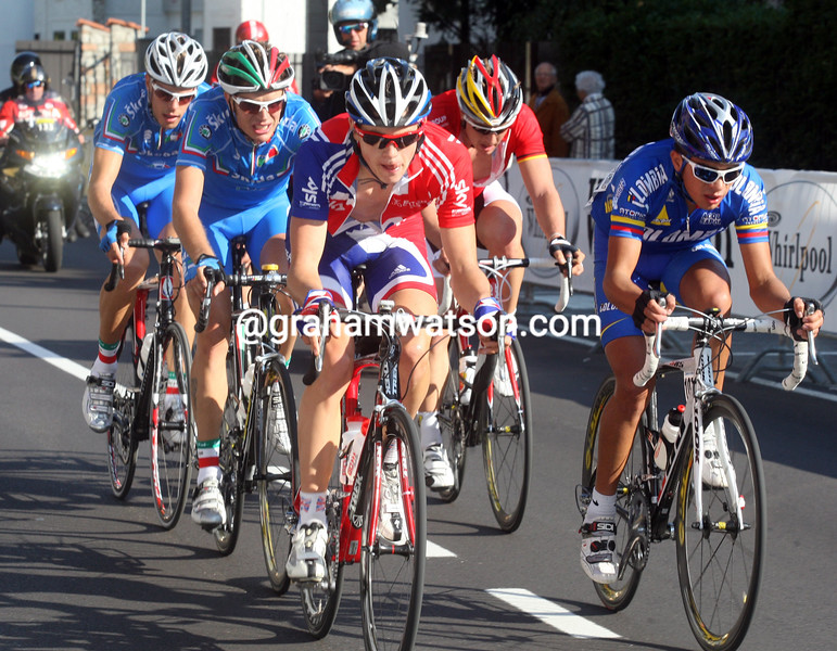BEN SWIFT AND DAMIANO CARUSO IN THE MENS U-23 2008 WORLD ROAD CHAMPIONSHIPS