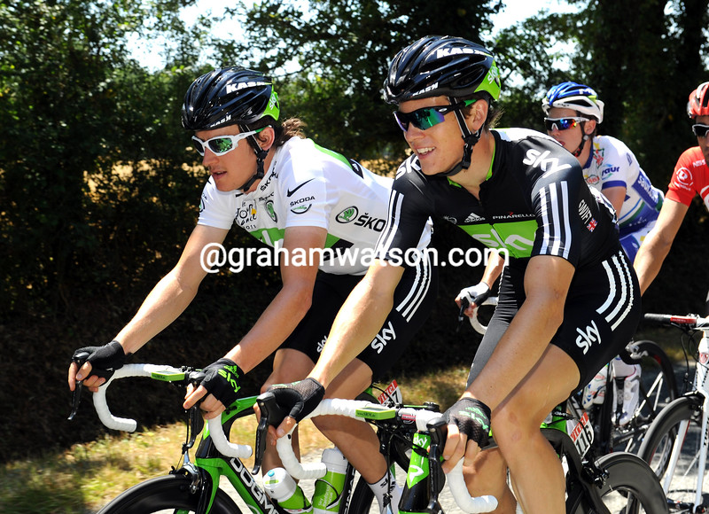 BEN SWIFT AND GERAINT THOMAS ON STAGE THREE OF THE 2011 TOUR DE FRANCE