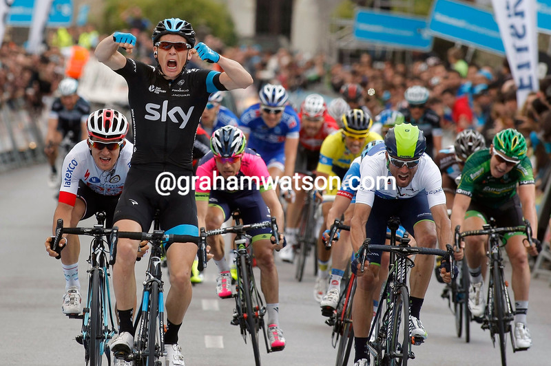 Ben Swift wins Stage 5 of the 2014 Tour of the Basque Country from Alejandro Valverde and Michal Kwiatkowski