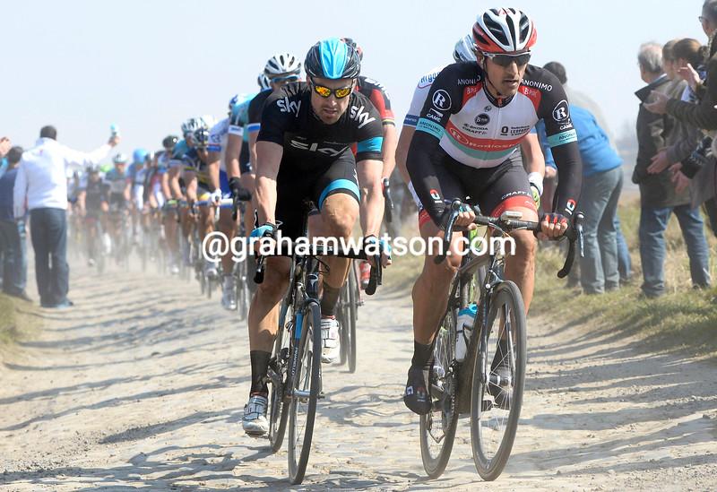 Bernie Eisel and Fabian Cancellara during the 2013 Paris Roubaix