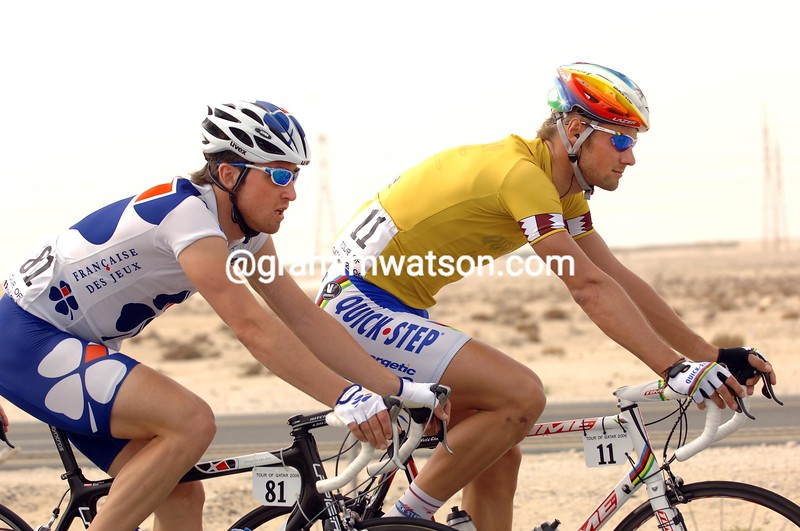 Bernard Eisel and Tom Boonen in the 2006 Tour of Qatar