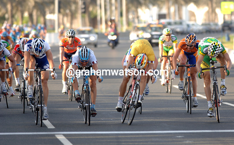 Bernhard Eisel (left) beats Zabel and Boonen to win a stage of the 2006 Tour of Qatar