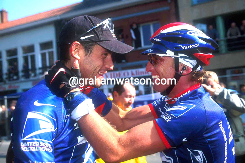 George Hincapie and Matthew White after winning the 2001 Ghent-Wevelgem