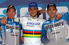 THE PODIUM OF THE 2006 TOUR OF FLANDERS:  LEIF HOSTE (2ND), TOM BOONEN (1ST) AND GEORGE HINCAPIE (3RD)