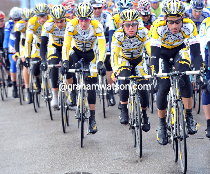 GEORGE HINCAPIE LEADS THE PELOTON ON STAGE THREE OF THE 2009 TOUR OF CALIFORNIA